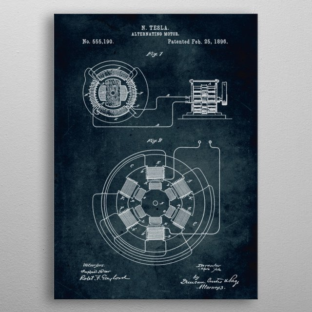 No074 - 1896 - Alternating motor - Inventor Nikola Tesla metal poster