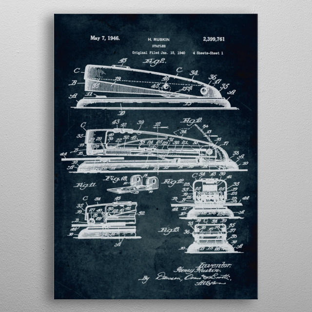 No072 - 1940 - Stapler - Inventor H Ruskin metal poster