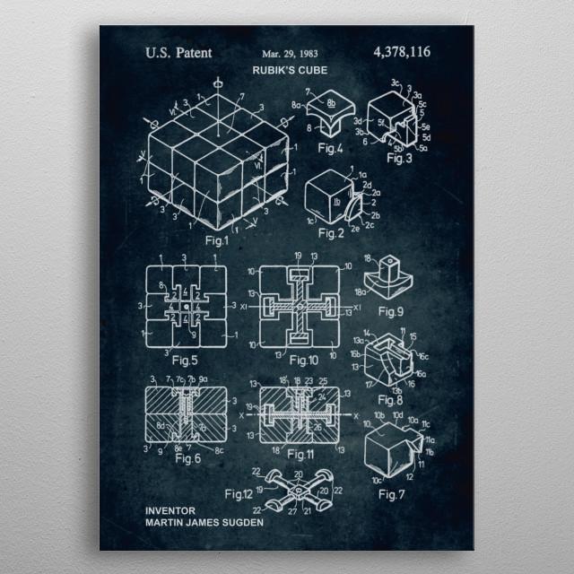 No086 - 1983 - Rubik's cube - Inventor Martin James Sugden metal poster
