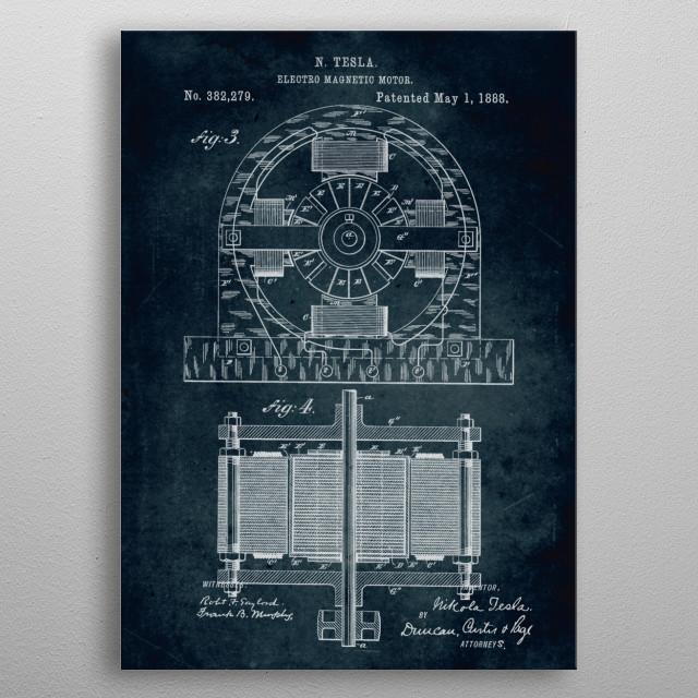 No076 - 1888 - Electro magnetic motor - Inventor Nikola Tesla metal poster