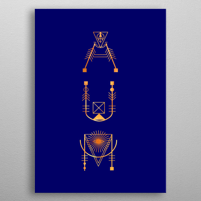 AUM written in sacred geometric alphabet in copper with light. metal poster