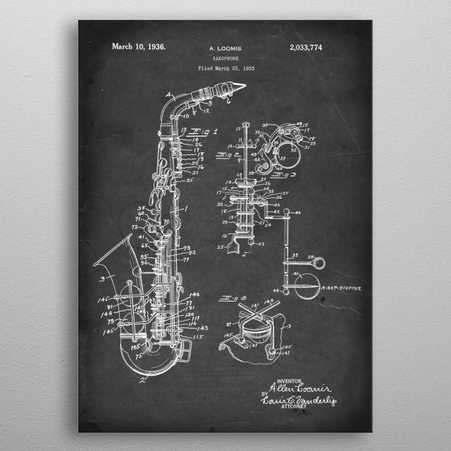 Saxophone - Patent #2,033,774 by A. Loomis - 1933 metal poster