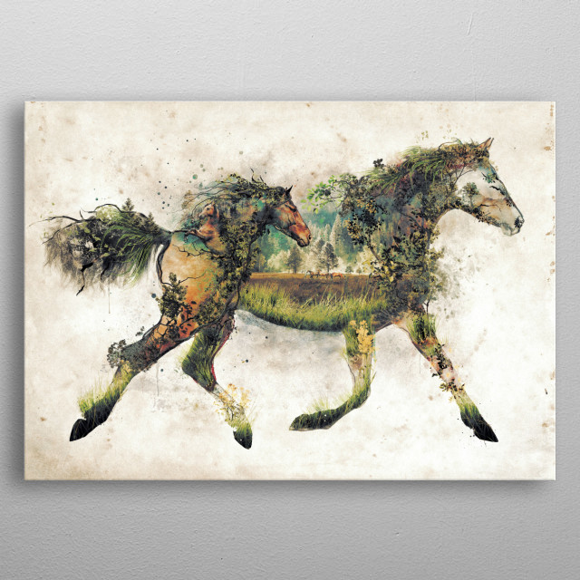The horse another in my original art nature animal surr... metal poster