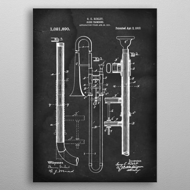Slide Trombone - Patent #1,021,890 by G. E. Riblet - 1912 metal poster