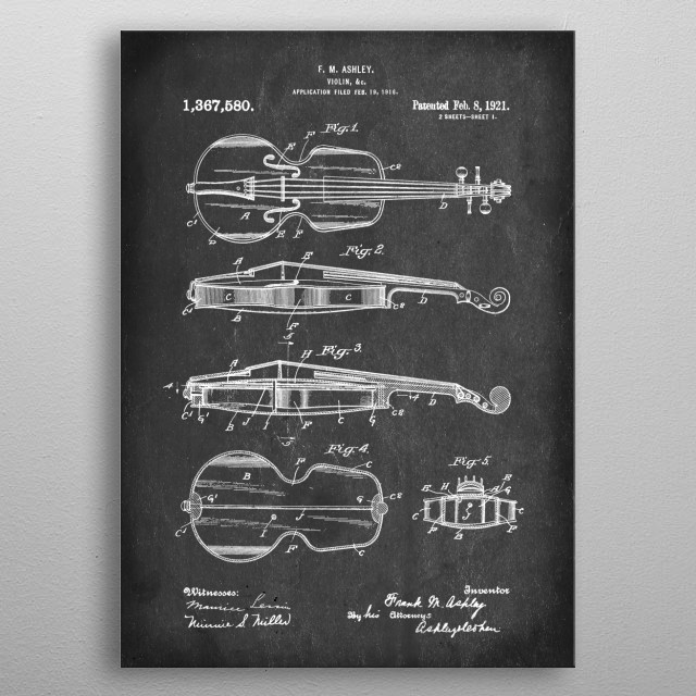 Violin - Patent #1,369,580 by F. M. Ashley - 1921 metal poster