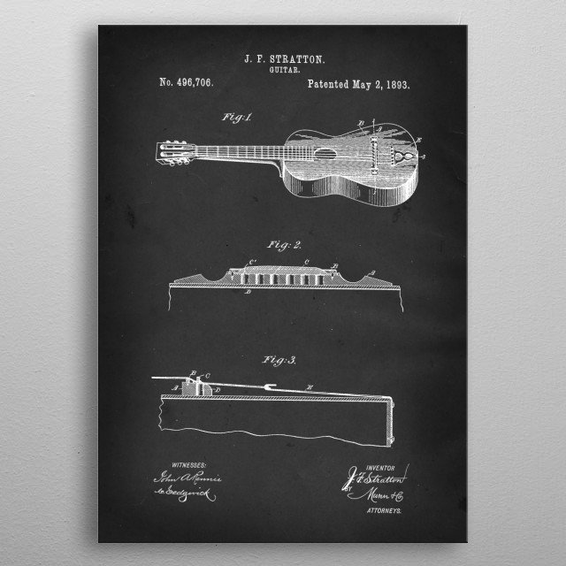 Acoustic Guitar - Patent #496,706 by J. F. Stratton - 1893 metal poster