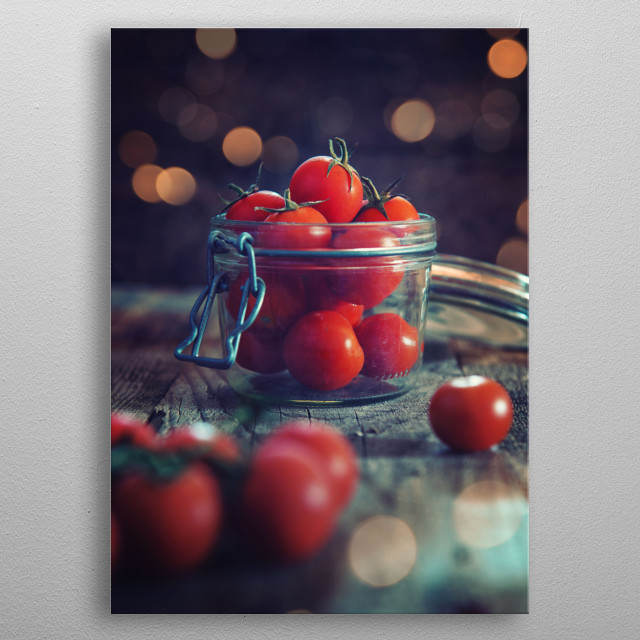 Jar of tomatoes with emotional light ambient metal poster