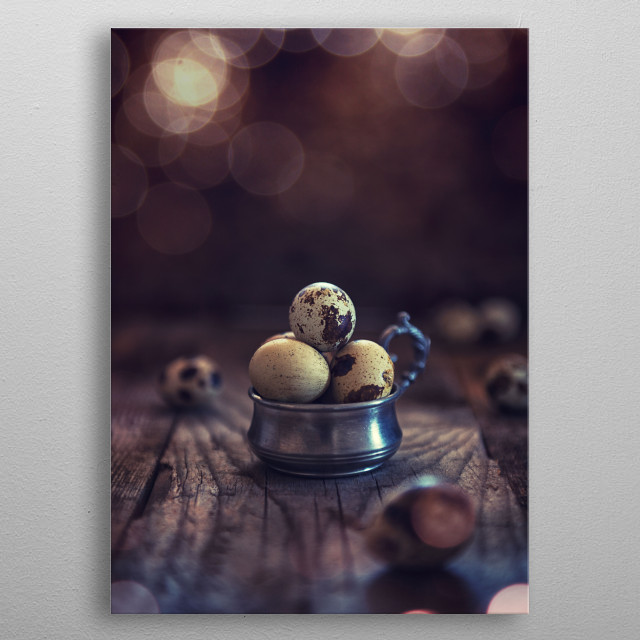 Quail's eggs on wood aces table background metal poster