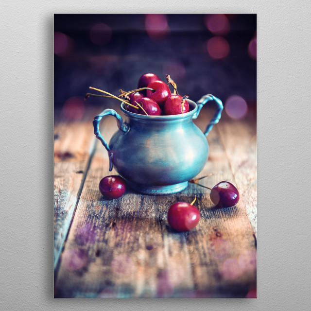 Cup of cherrie with emotional light ambient metal poster