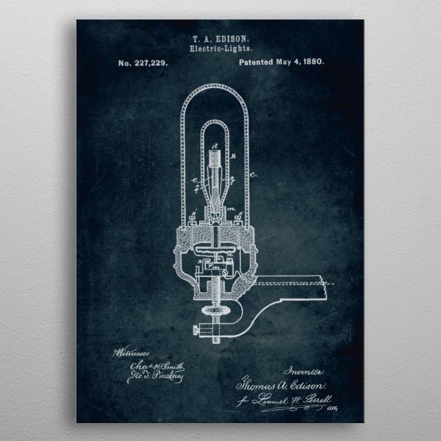 No094 - 1880 - Electric Light - Inventor Thomas A. Edison metal poster