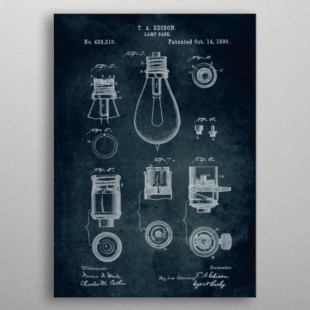 No093 - 1890 - Lamp base - Inventor Thomas A. Edison metal poster