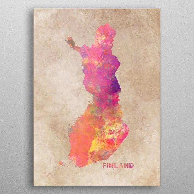 Finland map metal poster
