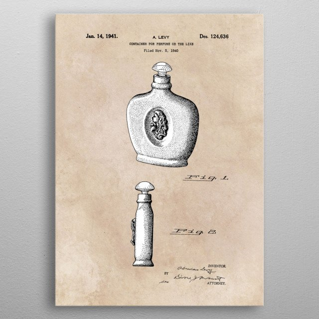 patent art Levy Container for perfume or the like 1940 metal poster