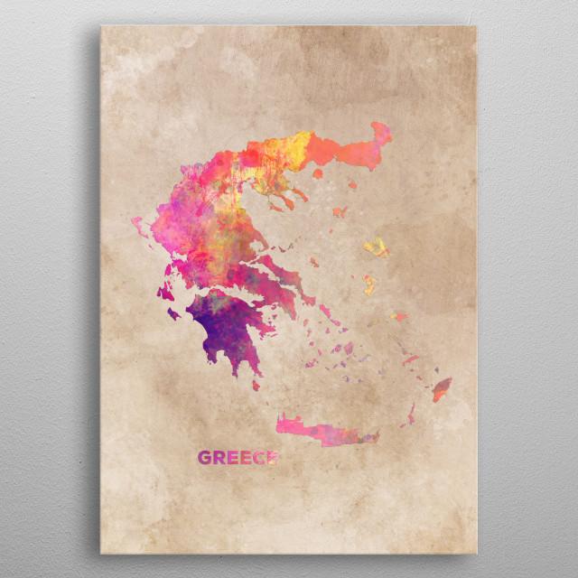 Greece map metal poster