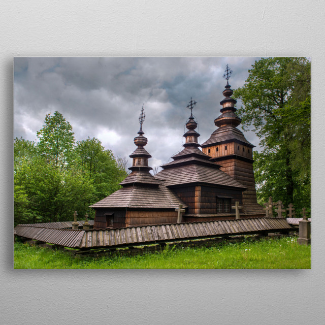 Wooden church in southern Poland metal poster
