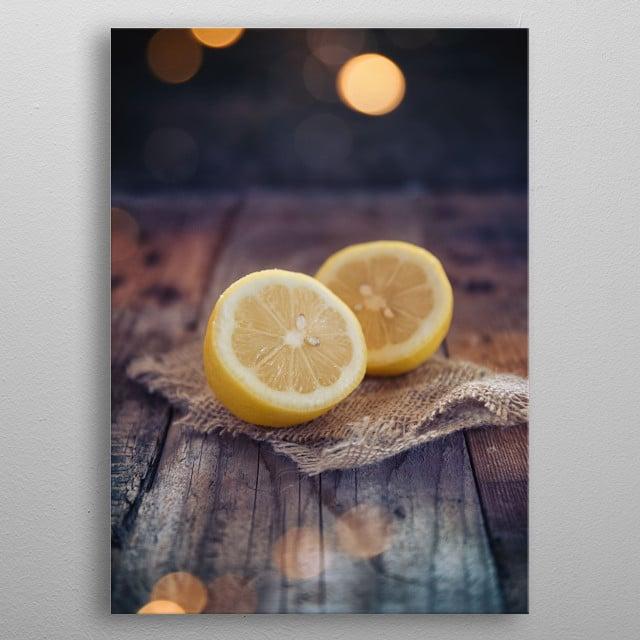 Half cut lemon metal poster