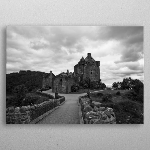 Eilean Donan castle in Scotland, from the movie Highlander. metal poster