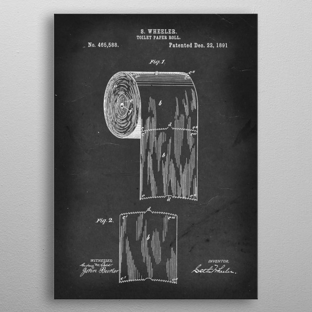 Toilet Paper Roll - Patent #465,588 by S. Wheeler - 1891 metal poster