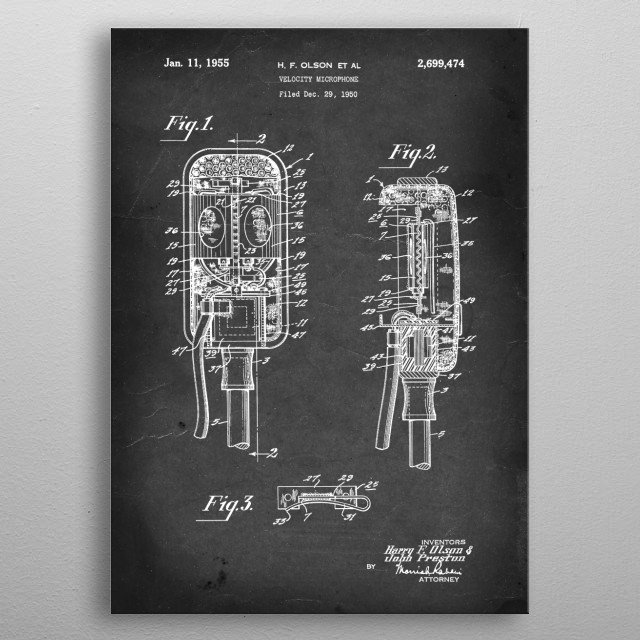 Velocity Microphone - Patent #2,699,474 by H. F. Olson et al - 1955 metal poster