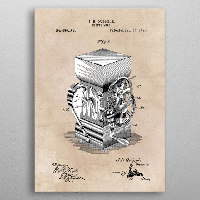 patent art Quiggle Coffee mill 1893 metal poster