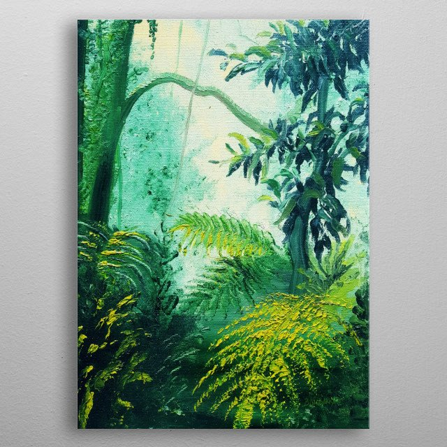 Rainforest Lights and Shadows. Orignal Oil on Canvas, composed by brush stokes, impressionism style, painted by BluedarkArt. A Glimpse of Venezuela Rainforest, on the road to Choroni. Painting: BluedarkArt Copyright.  metal poster