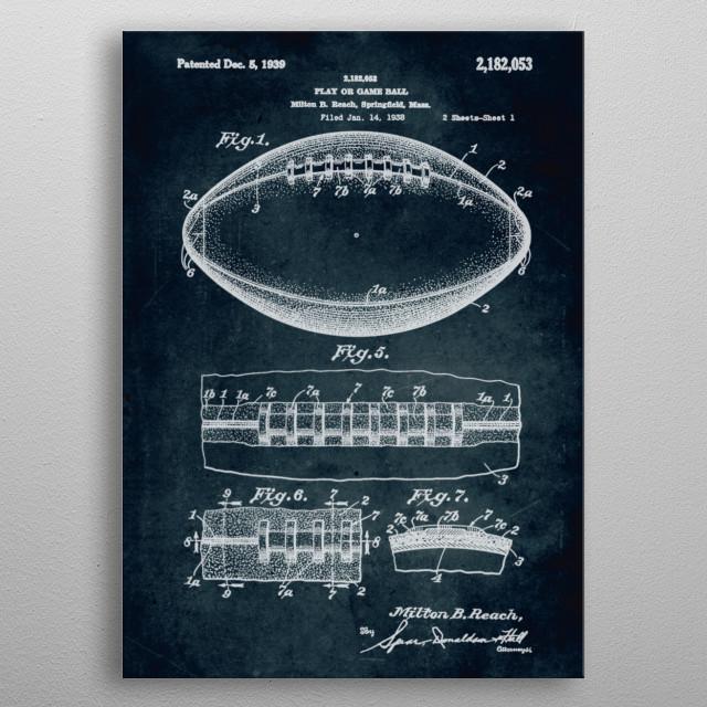 No099 - 1938 - Play or game ball - Inventor Milton B. Beach metal poster