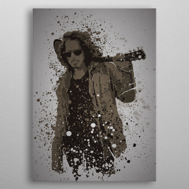 """Black Hole Sun"" Music Legends Splatter inspired by Chris Cornell metal poster"
