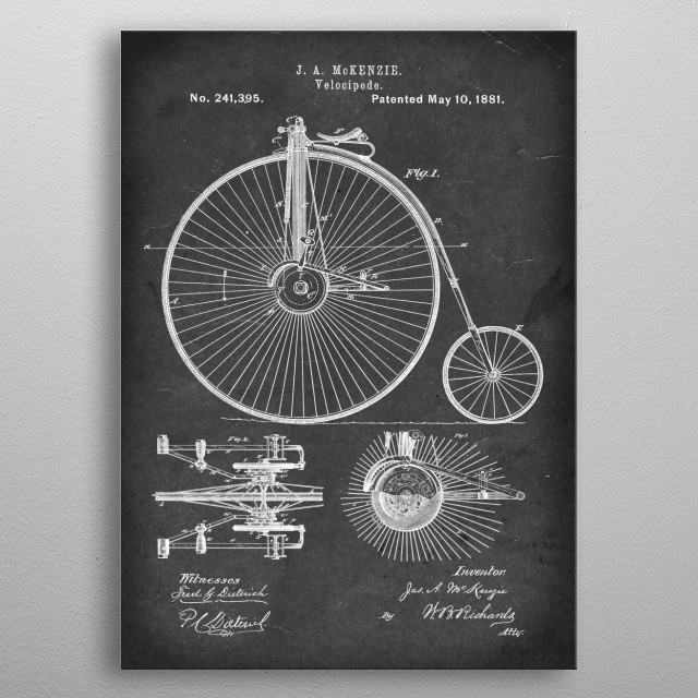 Velocipede - Patent #241,395 by J. A. McKenzie - 1881 metal poster