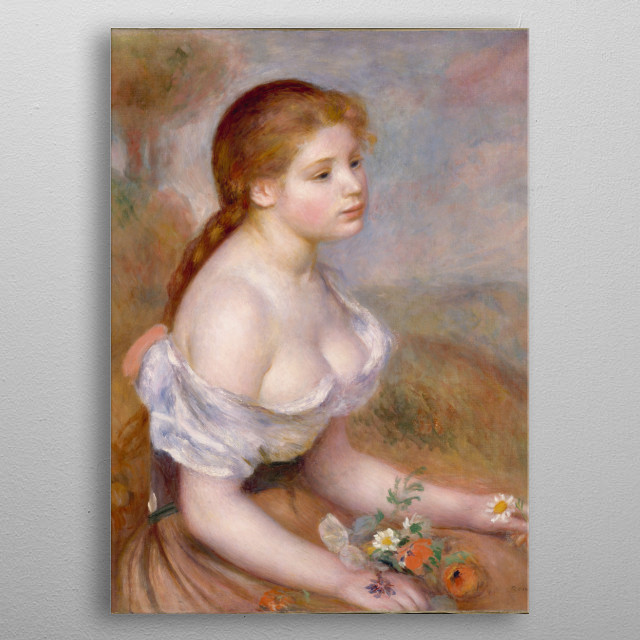Auguste Renoir - A Young Girl with Daisies, 1889, oil on canvas; Collection of The Metropolitan Museum of Art in New York metal poster