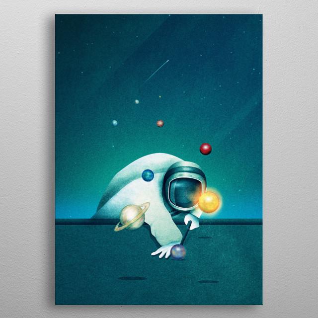 Astronaut Billards metal poster
