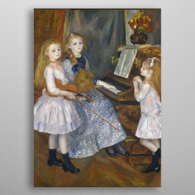 Auguste Renoir - The Daughters of Catulle Mendès, Huguette (1871–1964), Claudine (1876–1937), and Helyonne (1879–1955), 1888, oil on canvas; Collection of The Metropolitan Museum of Art in New York metal poster