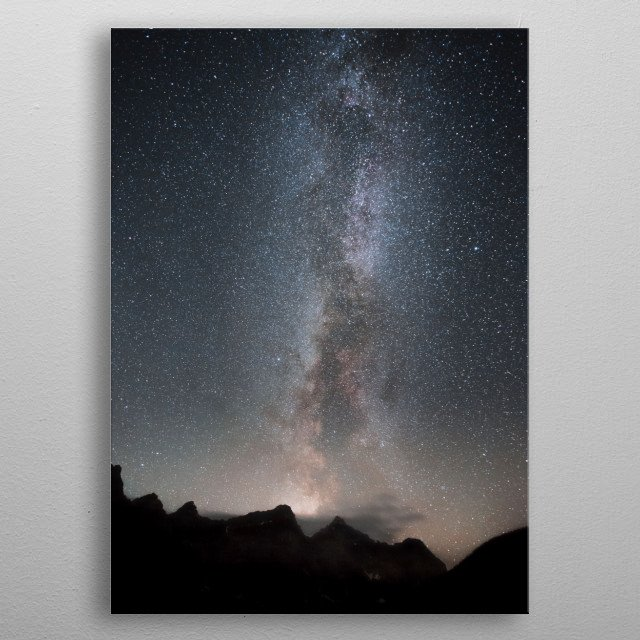 Milkyway stretches above the skies of Moraine Lake.  metal poster