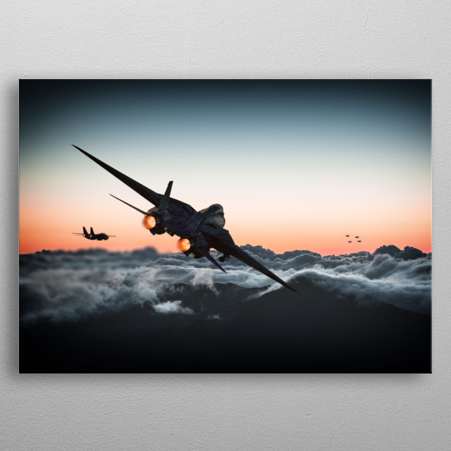 Two US Navy F14 Tomcats move to engage a flight of Mig 27s (a fictional aircraft based on the F5 tiger) metal poster