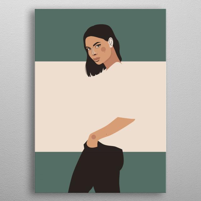 Flat design presenting women. metal poster