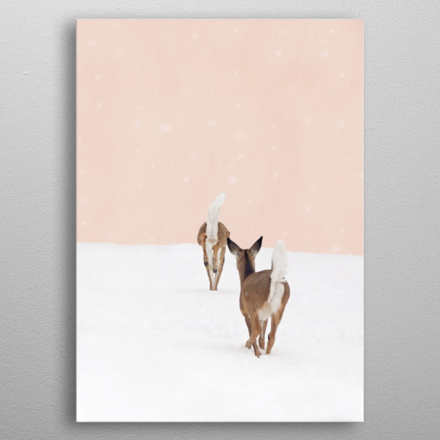 These hungry doe wandered into my yard last winter. Here in Upstate New York, winter weather often lasts well into Spring. The deer are leaping in the foreground, and the background is blush pink with layers of textures and snowflakes. It has a soft glow and would be cute in a nursery, playroom,  or girl's room. Photography by Brooke T Ryan.  metal poster