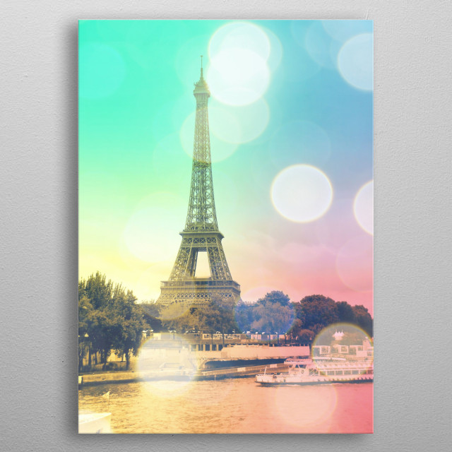 Romantically sweet photo of the Eiffel Tower in Paris.  metal poster