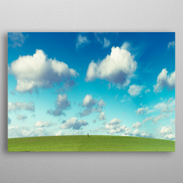 infinity - tiny person on a meadow under a bright cloudy sky metal poster