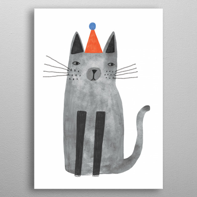 cat with hat metal poster