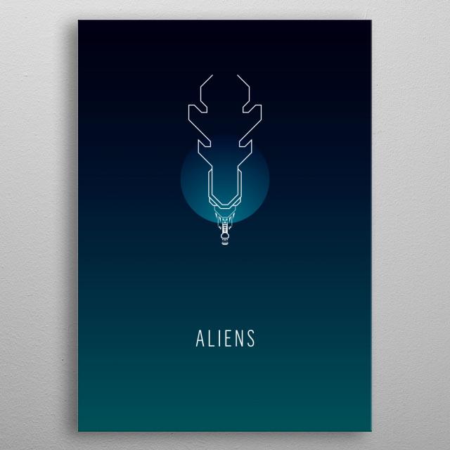 Aliens - minimalist movie poster metal poster