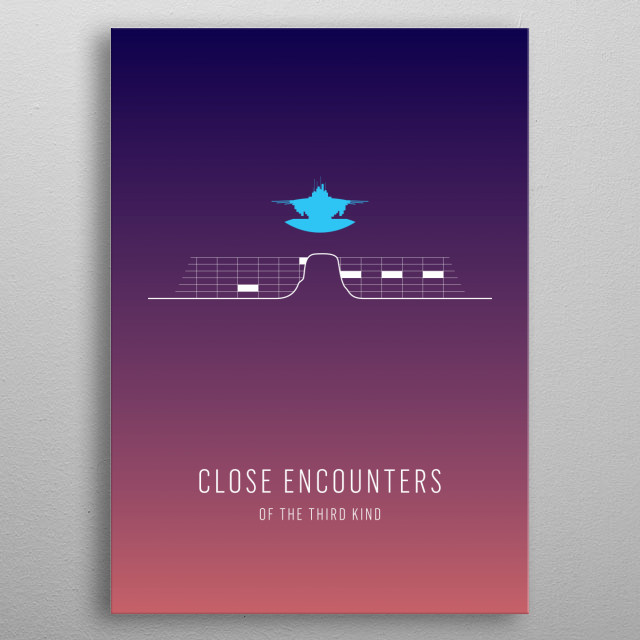 Close Encounters of the Third Kind - minimalist movie poster metal poster