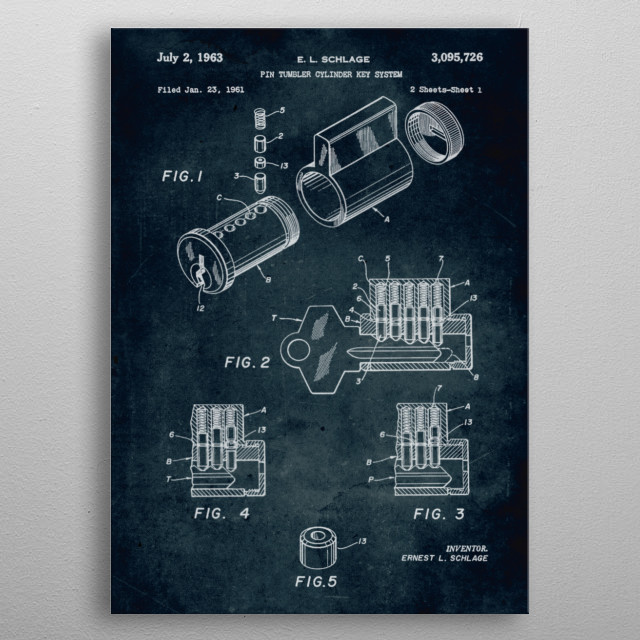 No115 - 1961 - Pin tumbler cylinder key system - Invent... metal poster