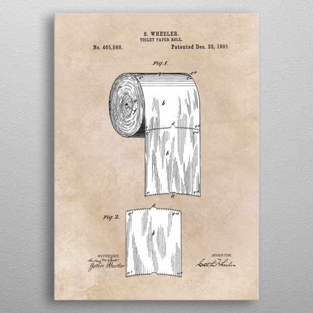 High-quality metal print from amazing Patent Bathroom collection will bring unique style to your space and will show off your personality. metal poster