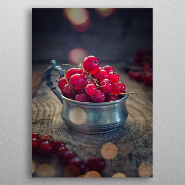 Red currants metal poster