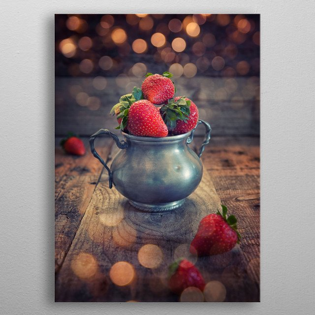 Strawberry cup metal poster
