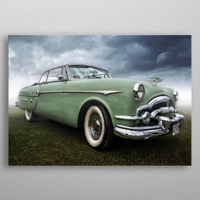 A classic mint green Packard in concourse condition.  metal poster