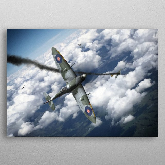Spitfire scores a kill on a luftwaffe FW-190 during WW2 metal poster