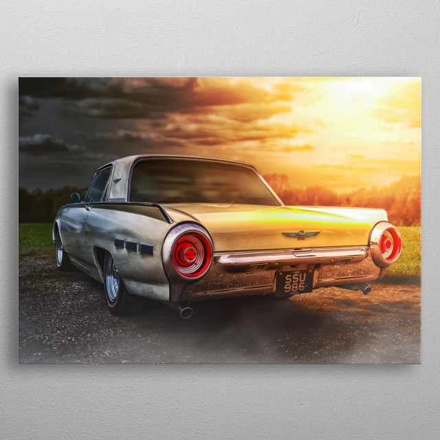 Edit of a old classic car transformed into piece of digital art using photoshop metal poster