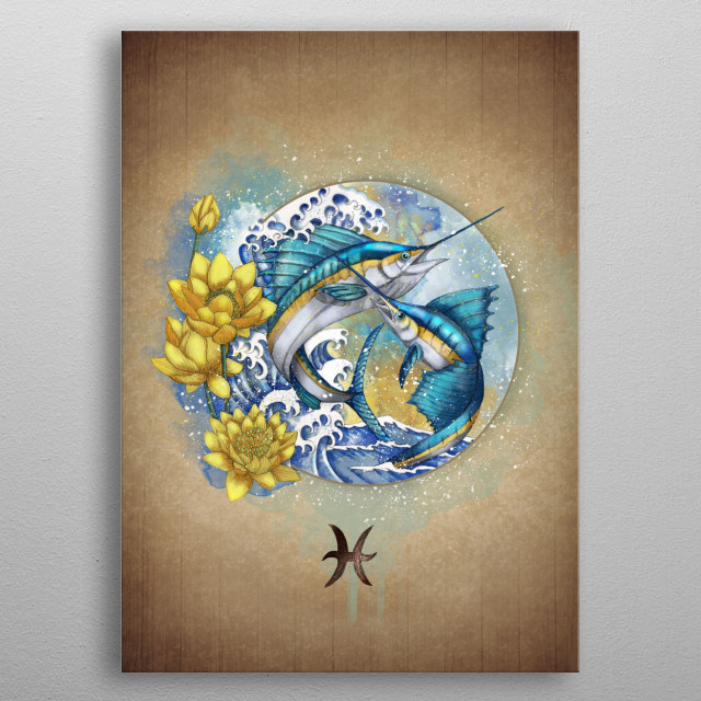 Pisces Zodiac sign metal poster