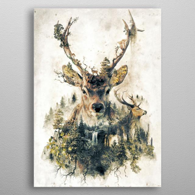 My nature surrealism original art of the deer metal poster