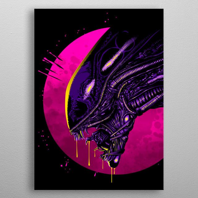 Psychedelic alien metal poster